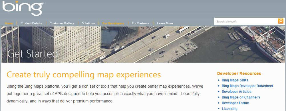 Check out the Bing Maps Developer Center