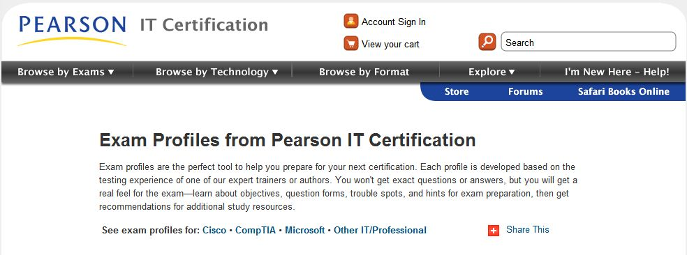 Exam Profiles page header at PearsonITCertification.com