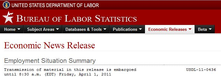 Press Release banner for 4/1/2011 Employment Situation Summary