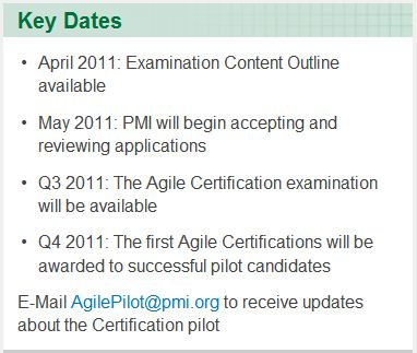Key date for upcoming PMI Agile certification