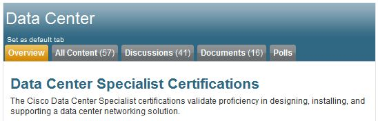 Header from the Data Center Specialist certs page