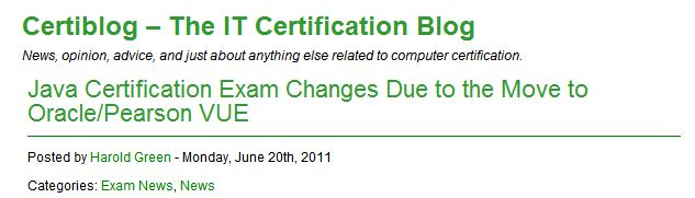 Certiblog Headline On Java Exam Changes