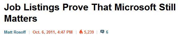 BI headline for recent MS Developer Cert value story