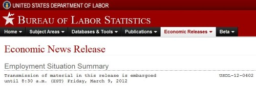 Header for the March 9, 2012 EmpSit Summary