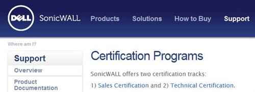 Dell's SonicWALL certs still fall mostly under the SonicWALL umbrella