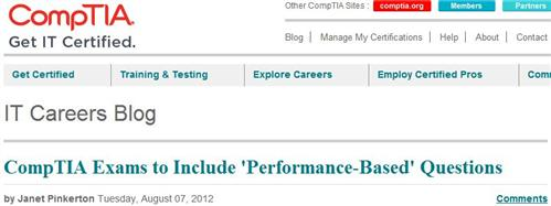 Blog Header for CompTIA info about new performance-based exam Qs