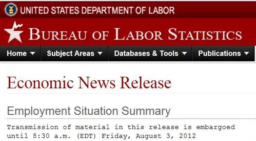 July 2012 Employment Situation Summary report header