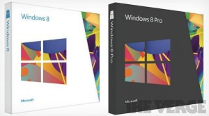 Images of the Windows 8 (left, white) and Windows 8 Pro (right, dark) boxes