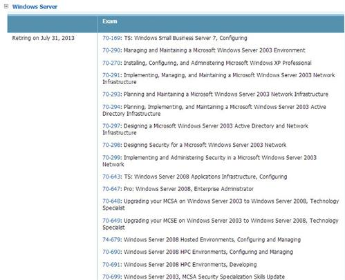 A long list of scheduled Windows Server 2003 and 2008 retirements.