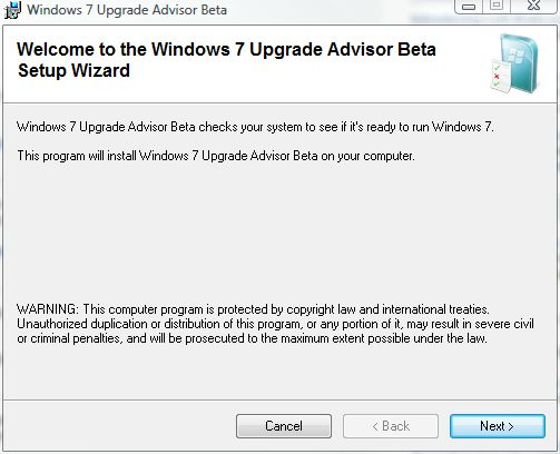 Win7 Upgrade Advisor launch screen