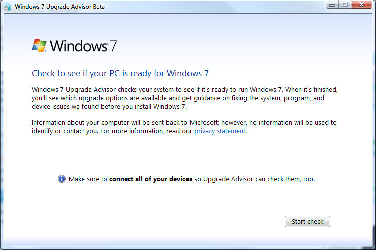 The Windows 7 Upgrade Advisor Startup screen