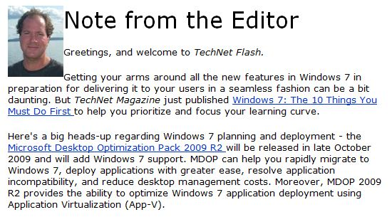 Snippet from TechNet Flash Vol 11, Issue 21 9-23-09