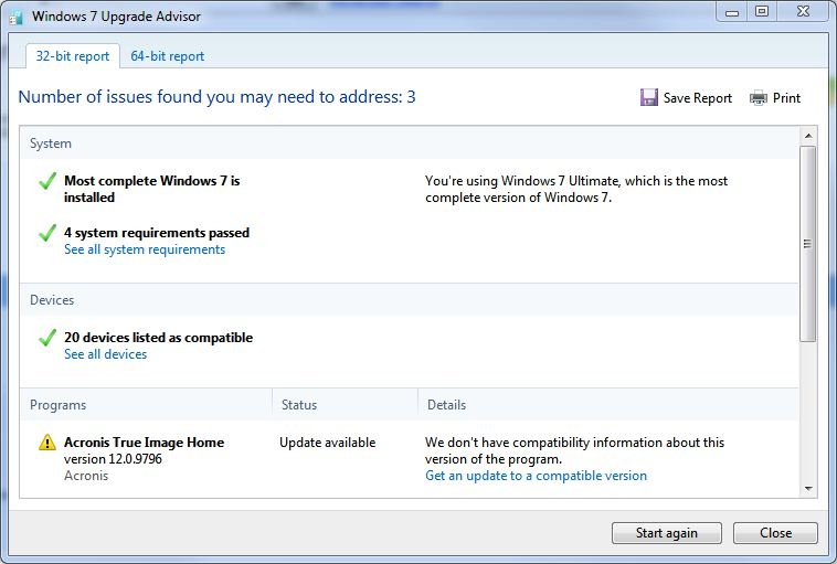 W7UA now recognizes that Win7 is installed, and pinpoints possible software compatibility issues