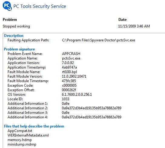 Event details for the pctsSvc.exe crash
