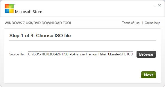 Start by picking the ISO file to install