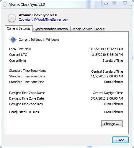The default Atomic Clock screen shows all current time settings