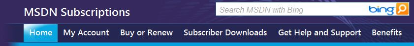 The MSDN Subscription home page