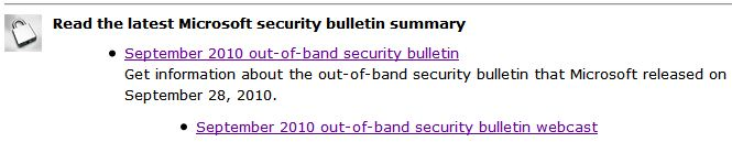 Yes, it's an out-of-band security bulletin for 9/28/2010