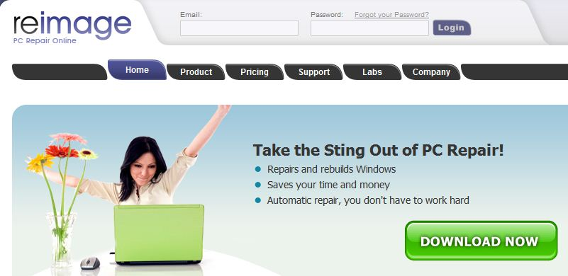 The Reimage home page banner says it all