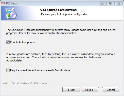 The best new feature in PSI 2.0 is auto-update so it gets turned on by default