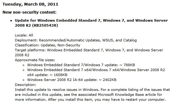 A tantalizing description of more issues resolved in Windows Update