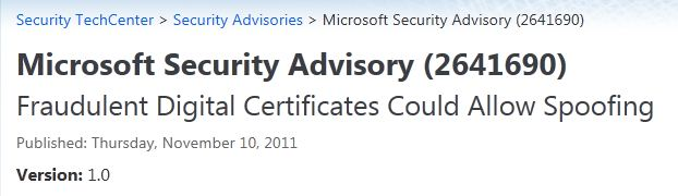 MS Security Advisory for Digital Certificates
