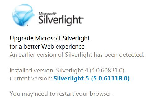The Silverlight home page checks and reports on what version you have