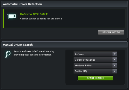 Notice the Windows 8 64-bit option in the driver search setup