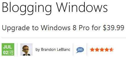 Upgrade from various Windows versions to Windows 8 Pro for $40