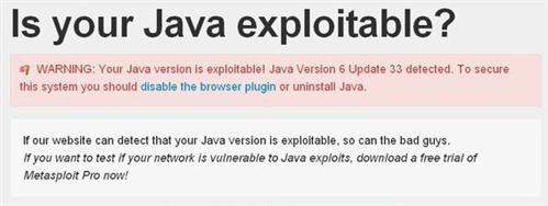 Your Java version is vulnerable: Look Out!