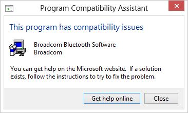 The recommended Bluetooth driver won't install on Windows 8 Pro RTM