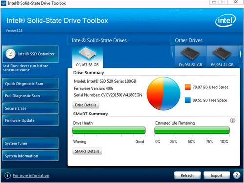 It took some serious spelunking and a drive update to get this much out of the Intel SSD toolbox.