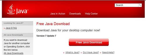 The Java download page header