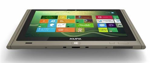 Side profile shows how thin this tablet is, and how bright and sharp the screen.