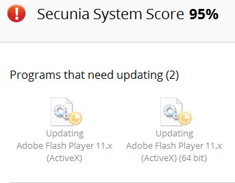 Both 64- and 32-bit versions now show up in need of an update in Secunia PSI.