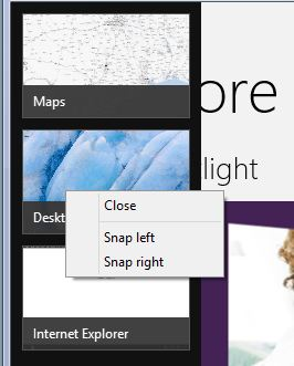 Right click or press-and-hold to bring up the right-click menu, then select Close.
