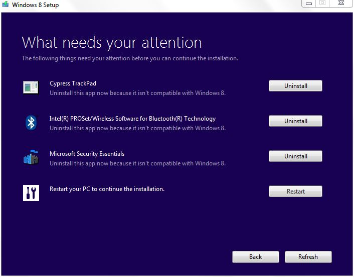 """You can click the """"Uninstall"""" button for most offending items right insider the Win8 installer itself."""