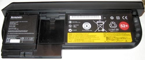 This oddly-shaped battery provides a handle for the convertible tablet/notebook X220 Tablet.