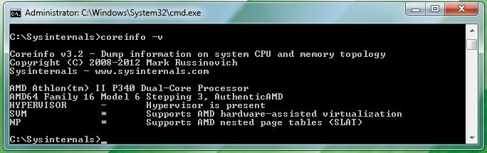 Even this older AMD Athlon II P340 supports hardware-assisted virtualization and SLAT.