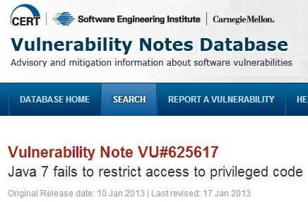 Header for the CERT/SEI vulnerability note on Java.