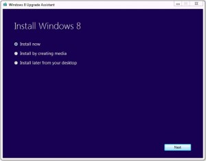 """Off to the races, on my way to completing an """"in-place upgrade"""" from Windows 7 to Windows 8."""