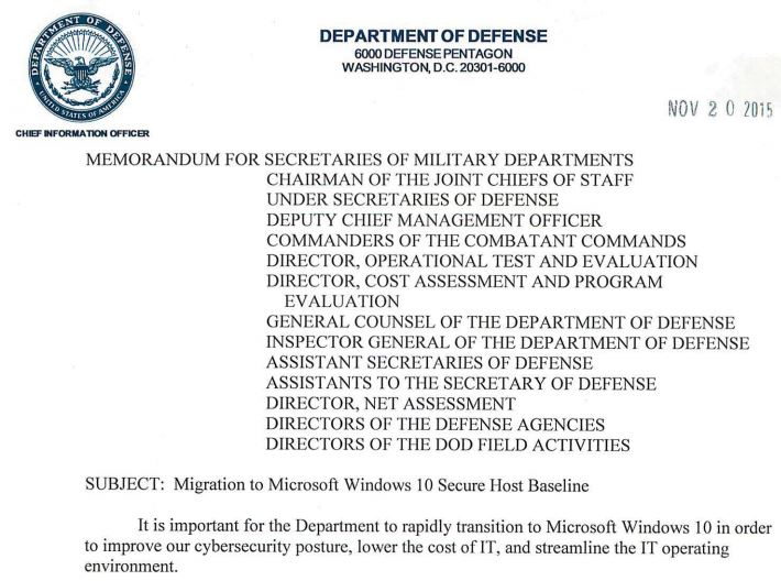 DoD Windows 10 deployment memo