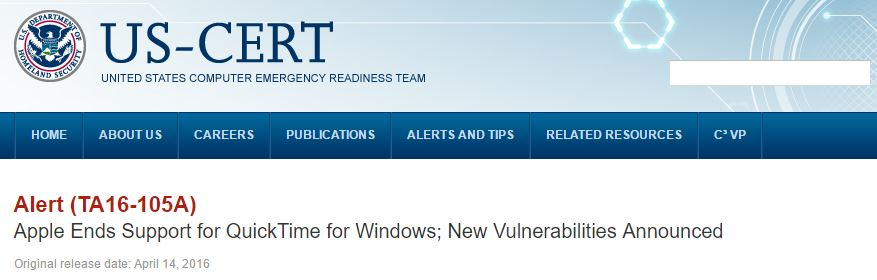 Cert banner advising 'uninstall QuickTime for Windows'