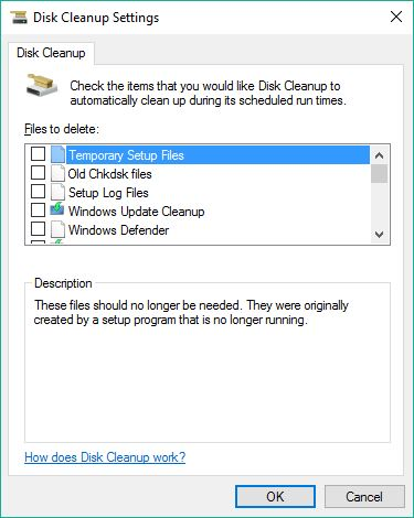 All Disk Cleanup Options captured, 1 of 5