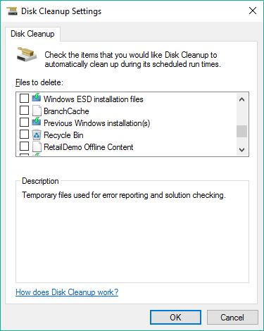 All Disk Cleanup Options captured, 4 of 5