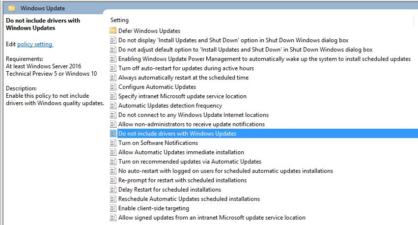 Group Policy Editor adds Driver Update Controls to WU