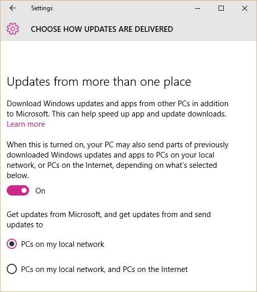 Windows 10 Updates Internet PCs