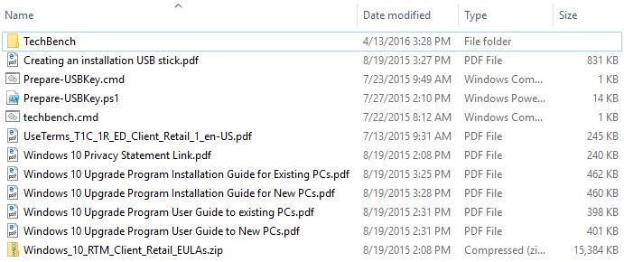 Windows 10 Tech Bench download file contents