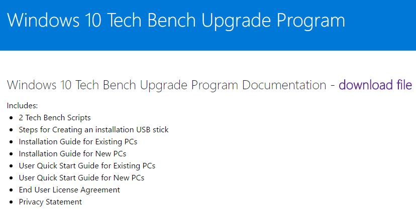 Windows 10 Tech Bench home page