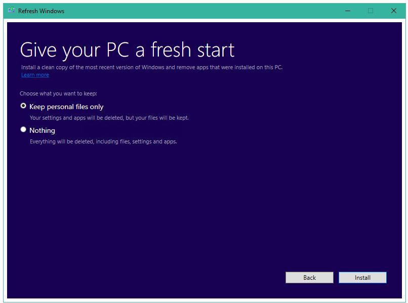 Windows 10 Fresh Start Tool